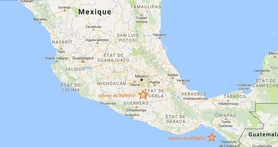 Épicentre des deux séismes au Mexique ©2017 Données cartographiques Google, INEGI ©Puraventura