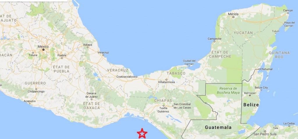 Séisme Mexique 7 septembre 2017 Localisation de l'épicentre ©2017 Google - Données cartographiques