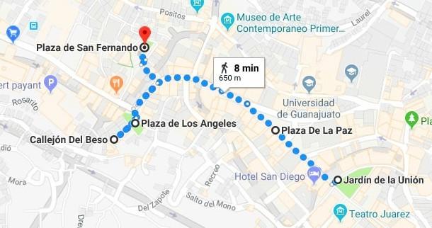 Guanajuato - De place en place (Données cartographique ©2018 Google,INEGI)