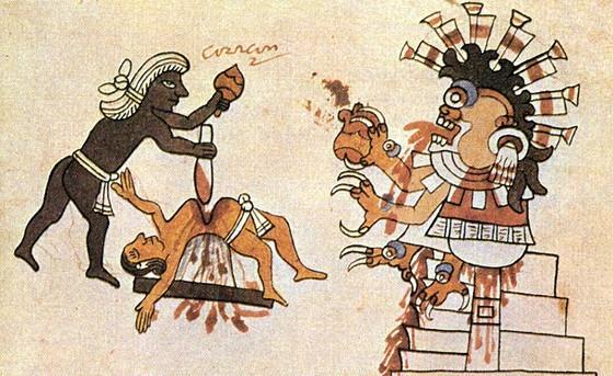 Sacrifice humain lors d'un rituel aztèque © Codice Tudela