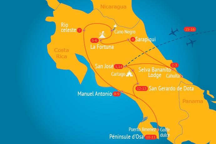 Itinéraire du circuit Confort Costa Rica 16 jours